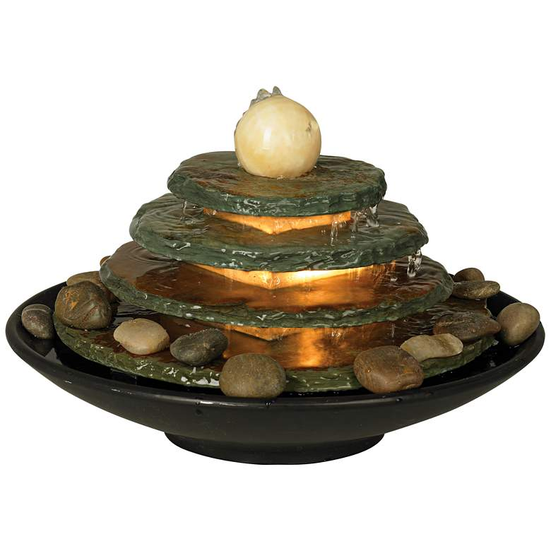 Pyramid Feng Shui Ball Lighted 10 Quot High Table Fountain