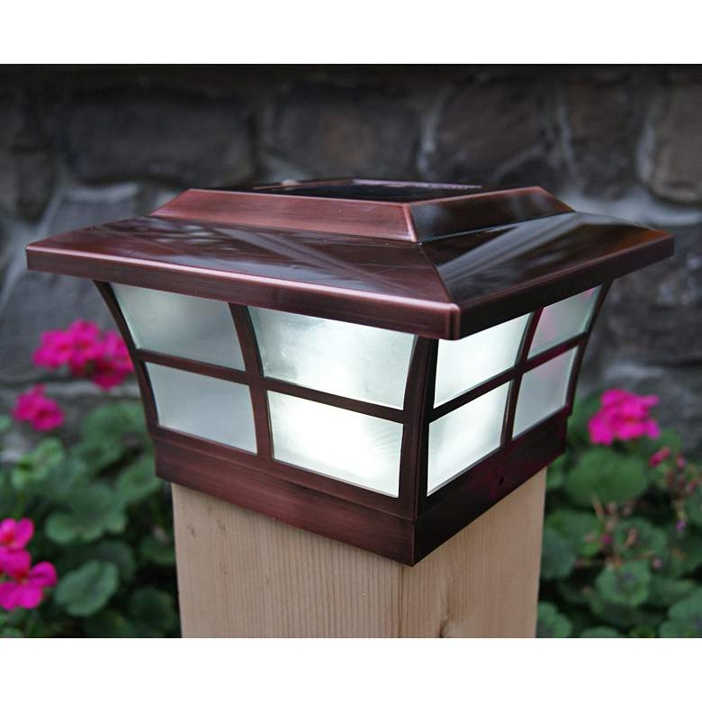 """Prestige 5""""H Copper Plated Large Outdoor Solar LED Post Cap"""