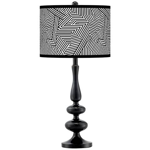 Labyrinth Giclee Paley Black Table Lamp