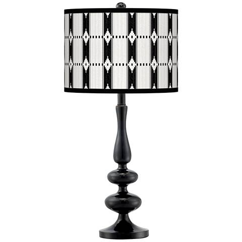 Tribal Weave Giclee Paley Black Table Lamp