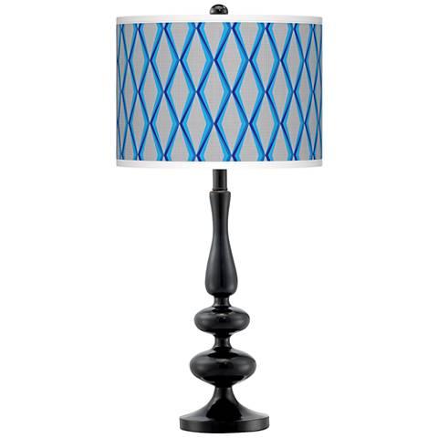Bleu Matrix Giclee Paley Black Table Lamp