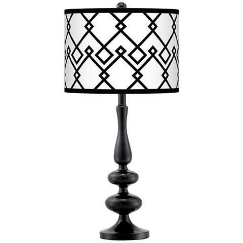 Diamond Chain Giclee Paley Black Table Lamp