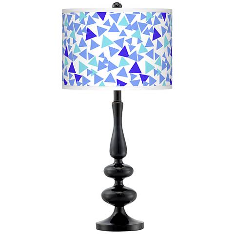 Geo Confetti Giclee Paley Black Table Lamp