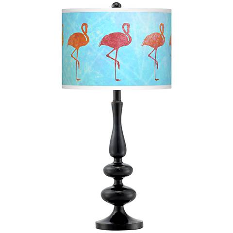 Flamingo Shade Giclee Paley Black Table Lamp