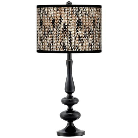 Braided Jute Giclee Paley Black Table Lamp