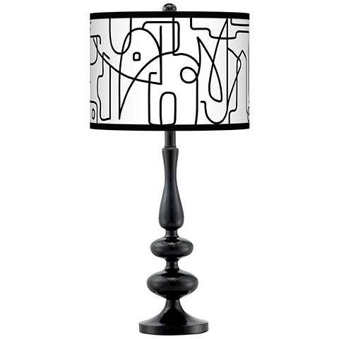 Scribble World Giclee Paley Black Table Lamp