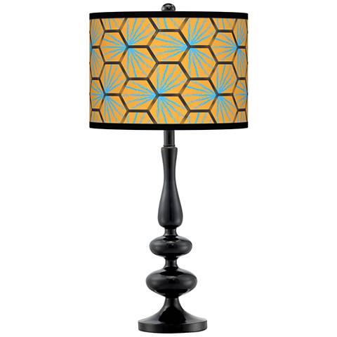 Hexagon Starburst Giclee Paley Black Table Lamp