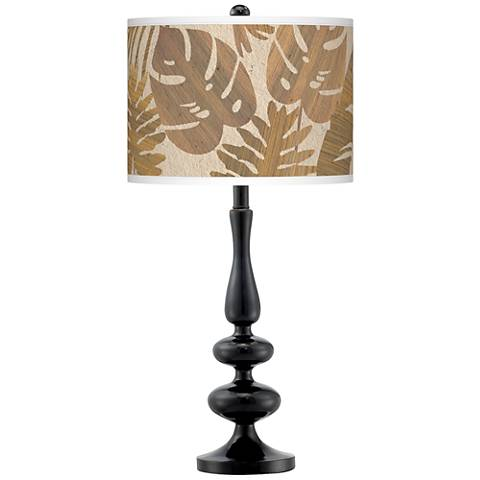 Tropical Woodwork Giclee Paley Black Table Lamp