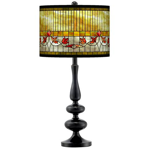 Tiffany Lily Giclee Paley Black Table Lamp