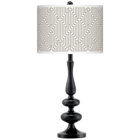 Diamond Maze Giclee Paley Black Table Lamp