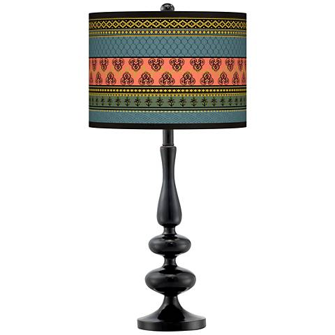 Royal Tapestry Giclee Paley Black Table Lamp