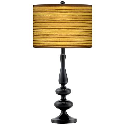 Tawny Zebrawood Giclee Paley Black Table Lamp
