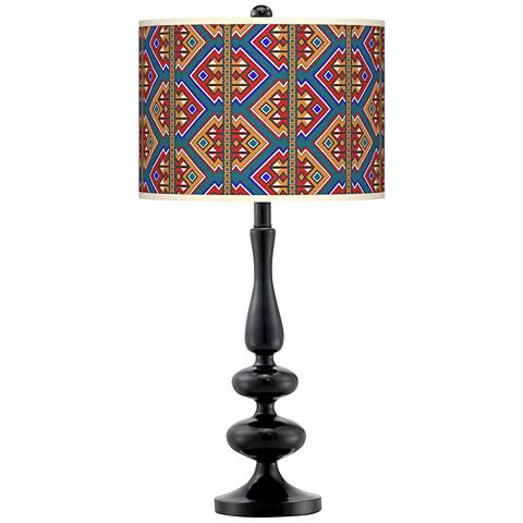Rich Bohemian Giclee Paley Black Table Lamp