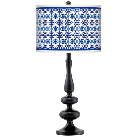 Indigo Path Giclee Paley Black Table Lamp
