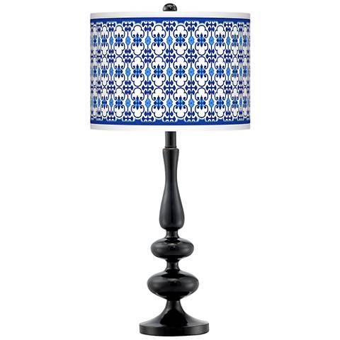 Indigo Path Giclee Paley Black Table Lamp