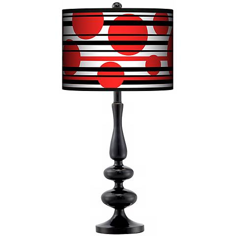 Red Balls Giclee Paley Black Table Lamp