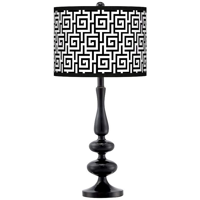 Greek Key Giclee Paley Black Table Lamp