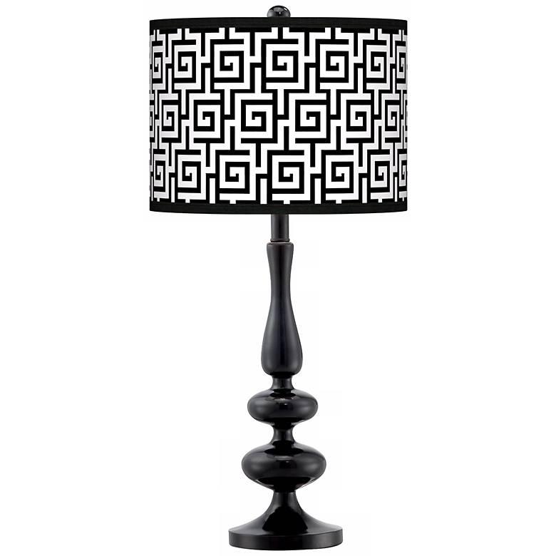 Greek Key Giclee Paley Black Table Lamp