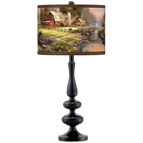 Thomas Kinkade Sunset at Riverbend Farm Black Table Lamp