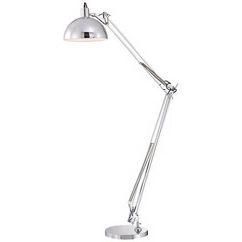 Chrome Finish Adjustable Arm Floor Lamp
