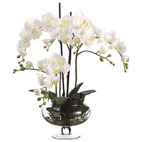 "Cream Orchids in Clear Glass Vase 25"" High Faux Flowers"
