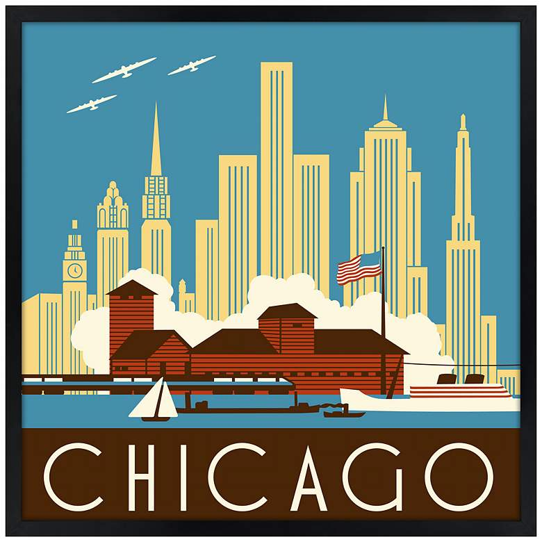 "Chicago II 21"" Square Black Giclee Wall Art"