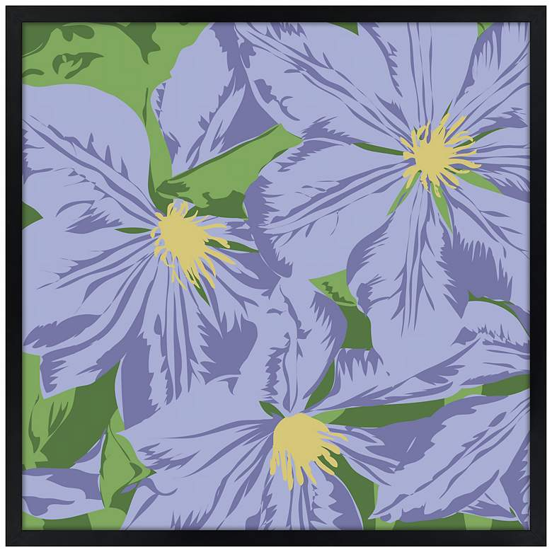 "Purple Petals 21"" Square Black Giclee Wall Art"