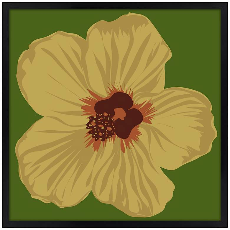 "Hibiscus 21"" Square Black Giclee Wall Art"