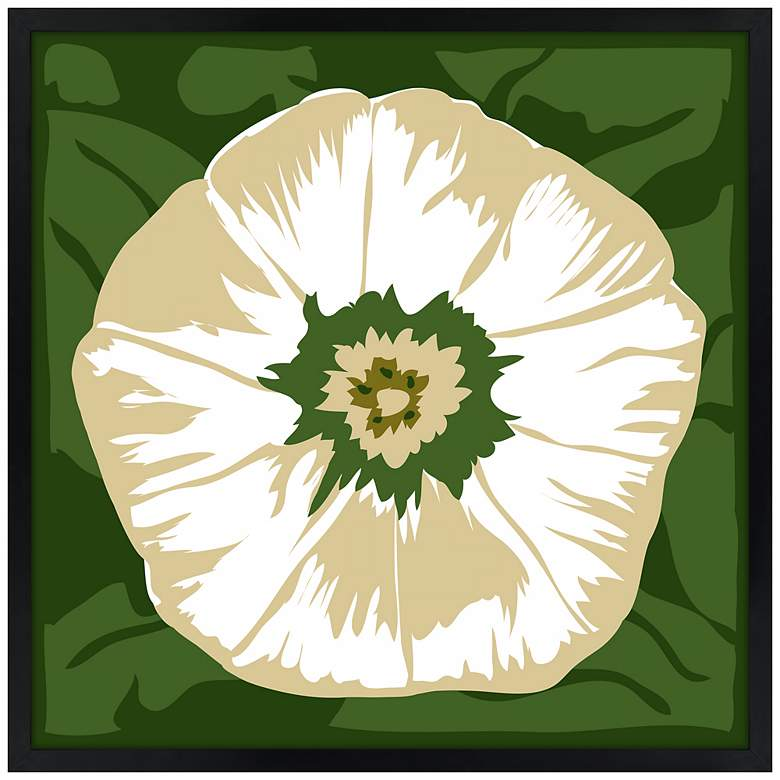 "White Flower 21"" Square Black Giclee Wall Art"