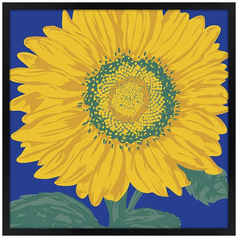 "Sunflower 21"" Square Black Giclee Wall Art"