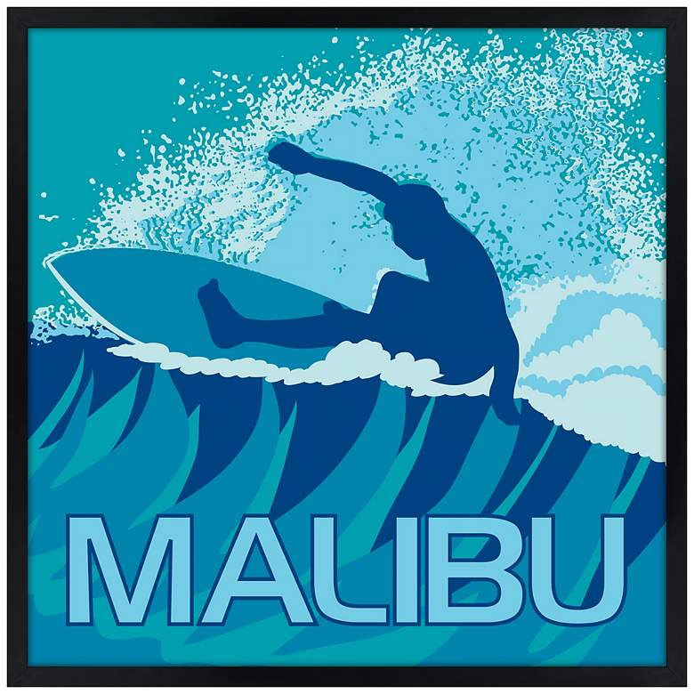 "Malibu Surfer 21"" Square Black Giclee Wall Art"