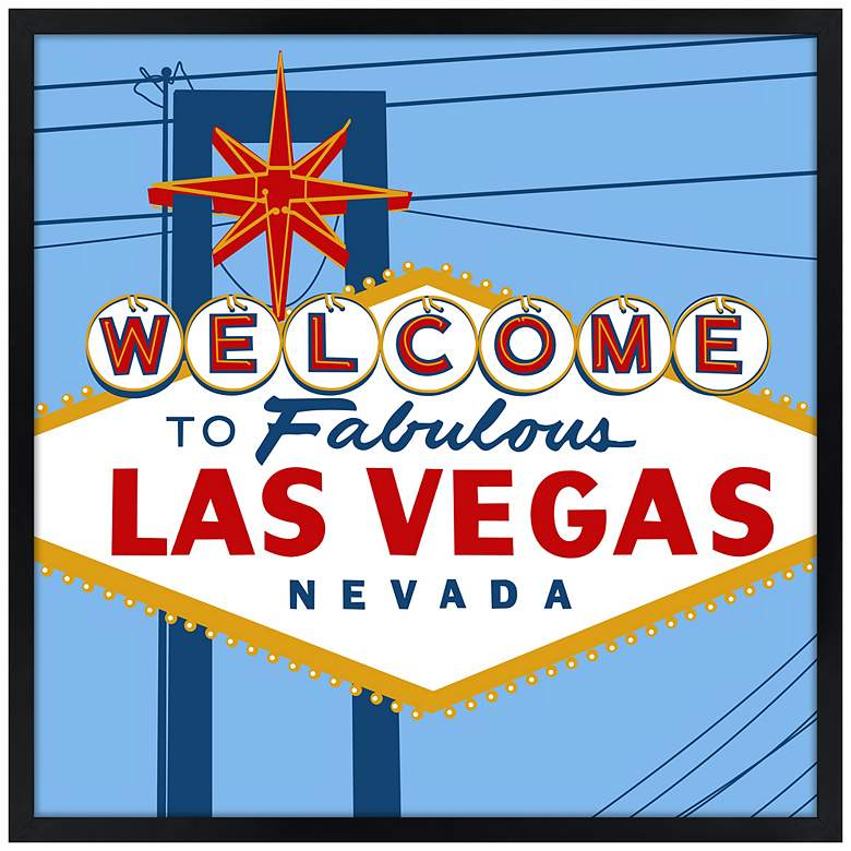 "Vegas 21"" Square Black Giclee Wall Art"
