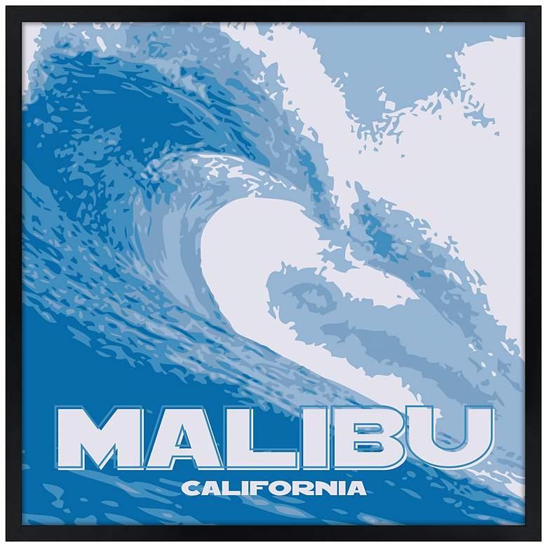 "Malibu Wave 21"" Square Black Giclee Wall Art"