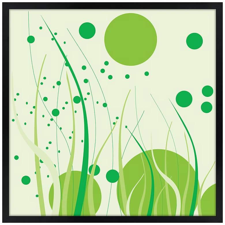"Tall Grass 21"" Square Black Giclee Wall Art"