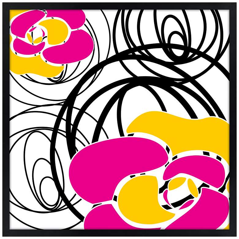"Whirl 21"" Square Black Giclee Wall Art"