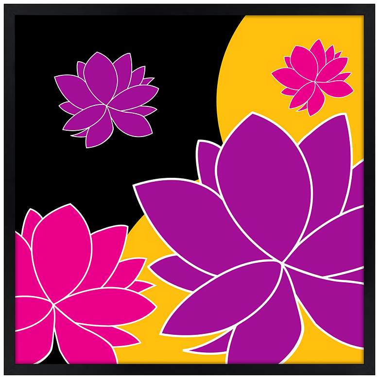 "Lotus Float 21"" Square Black Giclee Wall Art"