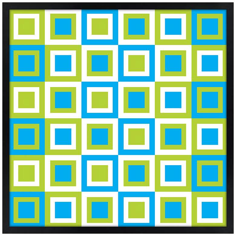 "Bouncing Boxes 21"" Square Black Giclee Wall Art"