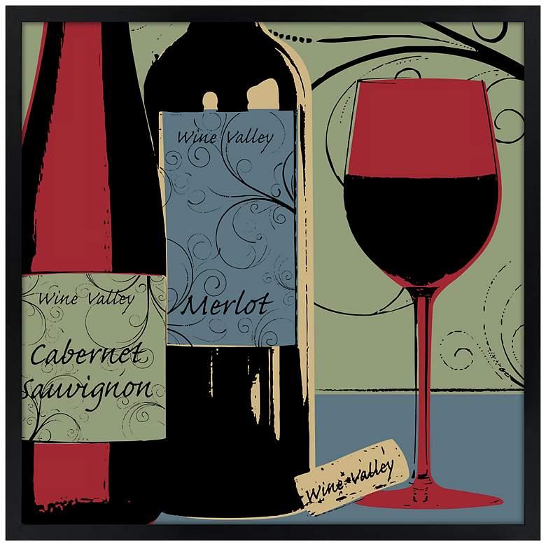 "Wine Tasting 21"" Square Black Giclee Wall Art"
