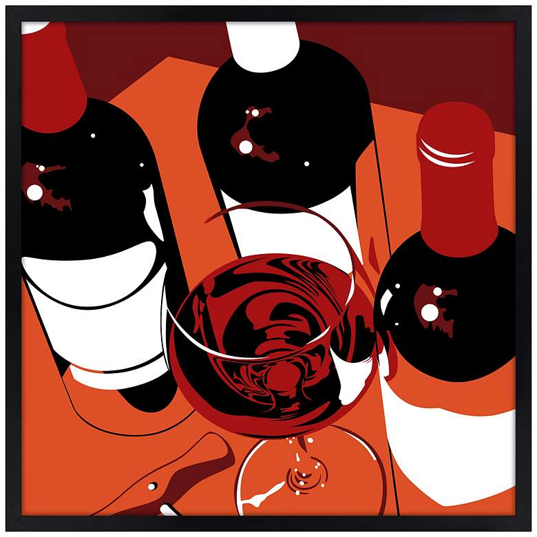 "Pinot 21"" Square Black Giclee Wall Art"