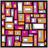 """Downtown Fields 26"""" Square Black Giclee Wall Art"""