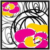 "Whirl 26"" Square Black Giclee Wall Art"