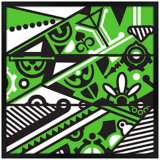 "Vibrance 31"" Square Black Giclee Wall Art"