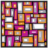 """Downtown Fields 37"""" Square Black Giclee Wall Art"""