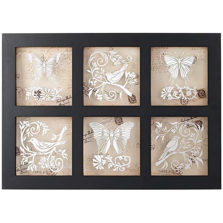 """Six Birds and Butterflies 31 1/2"""" Wide Framed Wall Decor"""