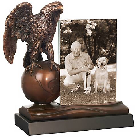 Eagle Atop Globe Picture Frame