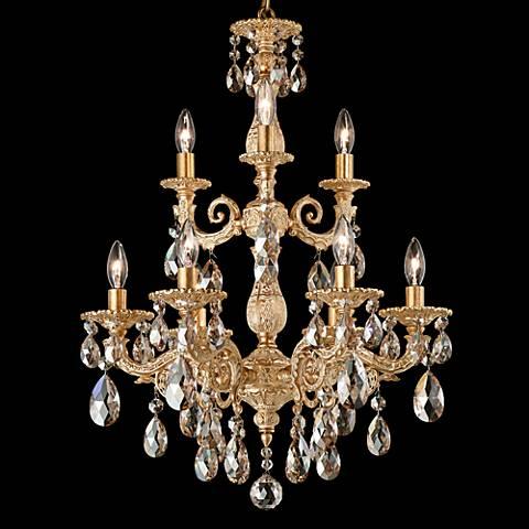 "Schonbek Milano 18"" Wide Parchment Gold Crystal Chandelier"