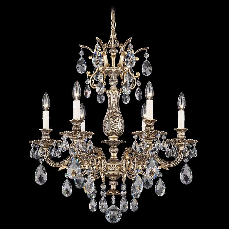 "Schonbek Milano 24"" Wide Midnight Clear Crystal Chandelier"