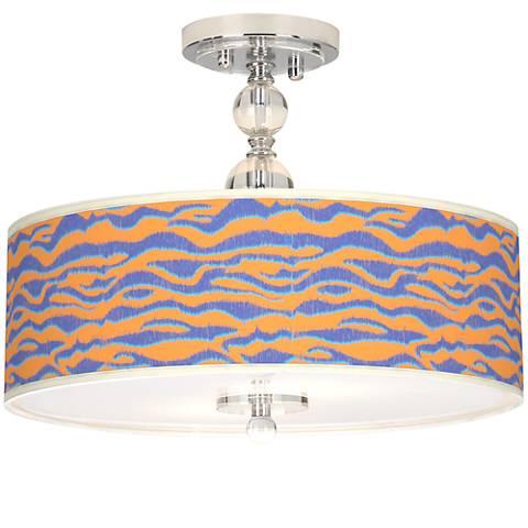 """Sunset Stripes Giclee 16"""" Wide Semi-Flush Ceiling Light"""
