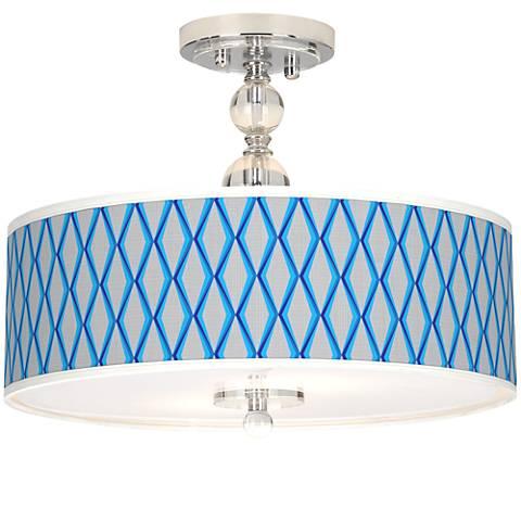 "Blue Matrix Giclee 16"" Wide Semi-Flush Ceiling Light"