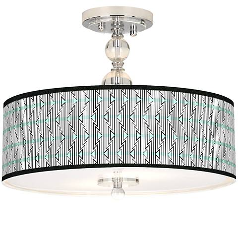 "Indigenous Giclee 16"" Wide Semi-Flush Ceiling Light"